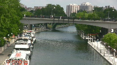 Boats Moored On The Rideau Canal Downtown Ottawa Canada Stock Footage