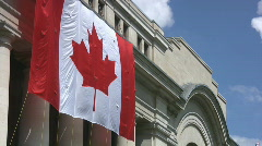 Huge Canadian Flag On The Side Of An Ottawa Building Stock Footage