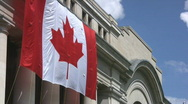 Stock Video Footage of Huge Canadian Flag On The Side Of An Ottawa Building