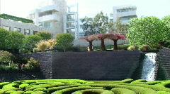 Garden Pan of Waterfall Stock Footage