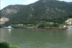 Austria Barge & cruse boat Danube Stock Footage