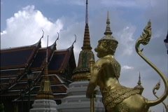 Bangkok Guilded figure Wat Pra Keo Stock Footage
