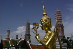 Bangkok Mythical golden woman statue Stock Footage