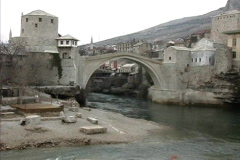 Bosnia Bridge & Neretva river Mostar Stock Footage