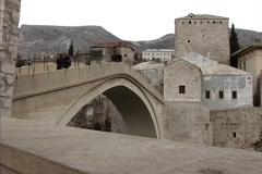 Stock Video Footage of Bosnia Rebuilt bridge Mostar