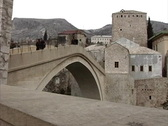 Stock Video Footage of Bosnia Rebuilt bridge Mostar