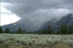 Clouds & Tetons WY Stock Footage