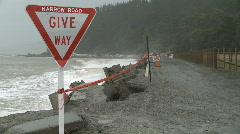 Narrow road coastal erosion Stock Footage