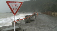 Narrow road coastal erosion Stock Footage