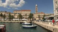 Croatia Split small boat harbor Stock Footage
