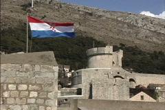 Dubrovnik Flag & Minceta tower Stock Footage