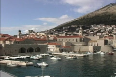Dubrovnik Old port from walls Stock Footage