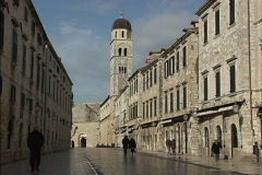 Dubrovnik Placa looking toward monastery Stock Footage