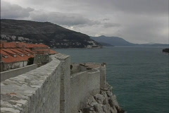 Dubrovnik View down coast from walls Stock Footage