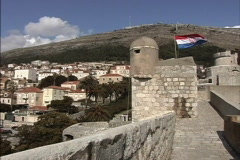 Dubrovnik Walls with Croatian flag Stock Footage