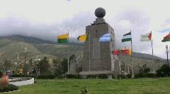 Ecuador Mitad del Mundo with flags  Stock Footage