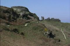 England Tintagel castle ruins Stock Footage