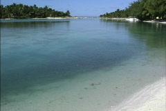 Enterance Aitutaki lagoon Stock Footage