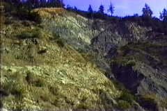 Environmental Issues Eroded clear-cut slope CA - stock footage