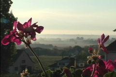 Flower framed landscape France Stock Footage