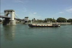 Barge on Rhone River Stock Footage