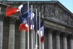 France Flags at National Assembly Stock Footage