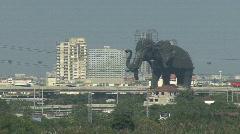 Elephant statue Chao Phraya River Stock Footage