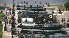 Rideau Canal Locks At Ottawa River Stock Footage