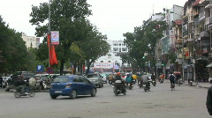 Hanoi traffic with bicycle rickshaws - stock footage