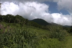 Hills & clouds Taveuni Stock Footage