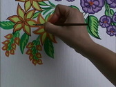 Stock Video Footage of Hungary Painting flowers on wall