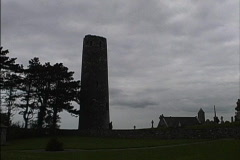 Ireland Backlit tower Clonmacnoise Stock Footage