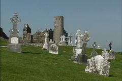 Ireland Cemetery Clonmacnoise Stock Footage