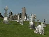 Stock Video Footage of Ireland Cemetery Clonmacnoise