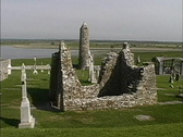 Stock Video Footage of Ireland Chapel ruin Clonmacnoise