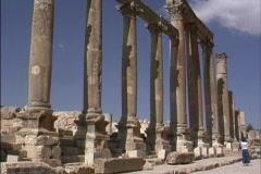 Columns at Jerash in Jordan Stock Footage