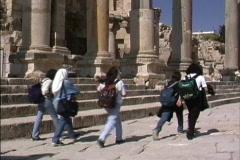 Jordan Jordanian girls Jerash Stock Footage