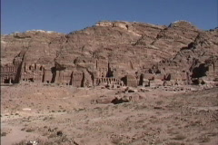 Jordan Rock cut tomb facades Petra Stock Footage