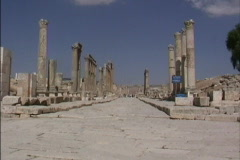 Jordan Street & columns Jerash Stock Footage