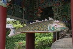 Fish drum at shrine in Korea Stock Footage