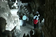 Laos Inside Pak Ou caves Stock Footage