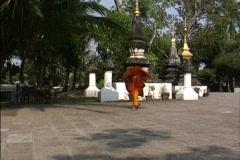 Laos Monk Luang Prabang Stock Footage