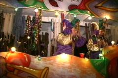 Mardi Gras New Orleans Night throwing beads Stock Footage