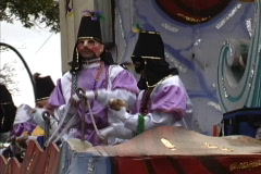 Mardi Gras New Orleans Throwing beads out Stock Footage