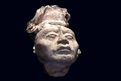 Maya Cities Palenque stucco head Stock Footage