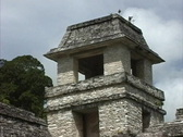 Maya Cities Palenque tower zooms out Stock Footage