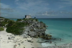 Maya Cities Tulum temple & sea Stock Footage
