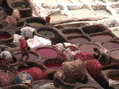 Morocco Tanneries dye vats Stock Footage