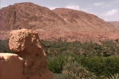 Morocco Zooms to oasis town - stock footage