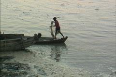 Myanmar Fishing with net Ayeyarwady Stock Footage